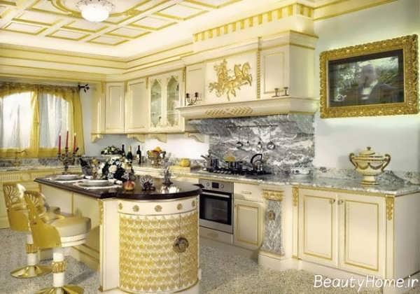 دکوراسیون سفید طلایی آشپزخانه کلاسیک