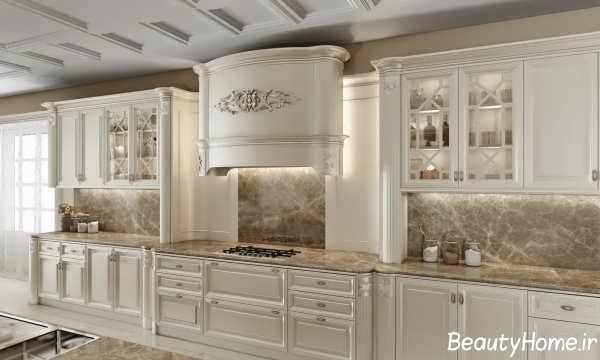 دکوراسیون کرم آشپزخانه کلاسیک