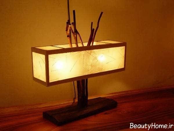 تزیین منزل با چراغ خواب چوبی