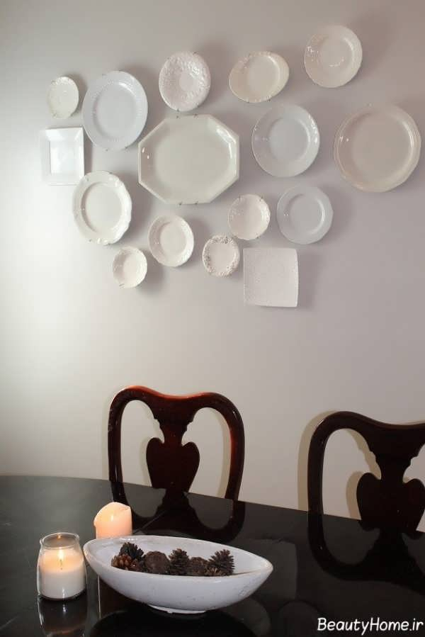 تزیین سالن غذاخوری با بشقاب