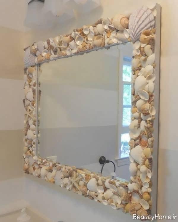 تزیین قالب آینه با صدف