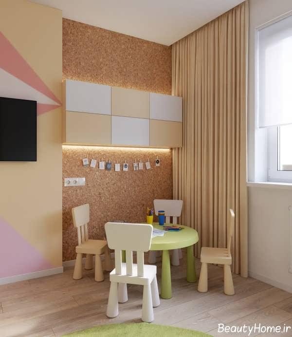 دکوراسیون چوبی در اتاق کودک دختر و پسر
