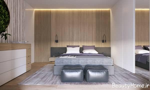 دکوراسیون چوبی خاص دیوار اتاق خواب