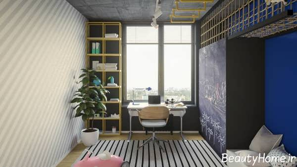دکوراسیون چوبی در اتاق خواب نوجوان