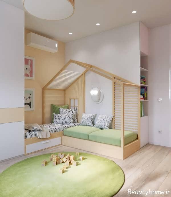 دکوراسیون چوبی در اتاق خواب کودک