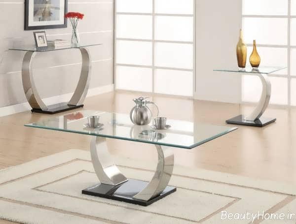 میز جلو مبلی شیشه ای مدرن