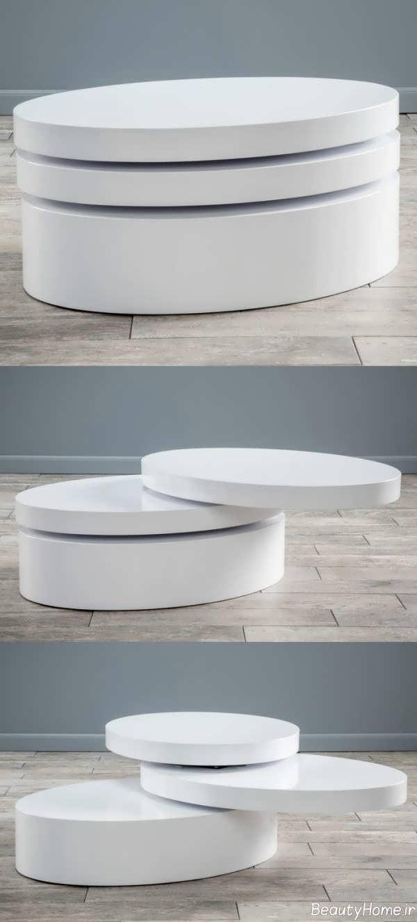 میز جلو مبلی سفید و مدرن