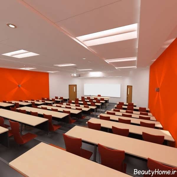 دکوراسیون نارنجی کلاس درس