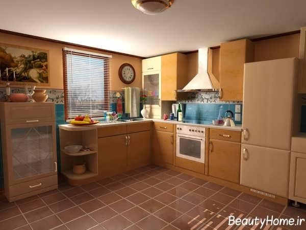 نمونه زیبای دکوراسیون داخلی آشپزخانه ساده