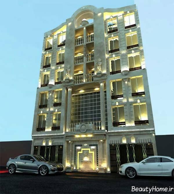 نمای سنگی و مدرن ساختمان چند طبقه