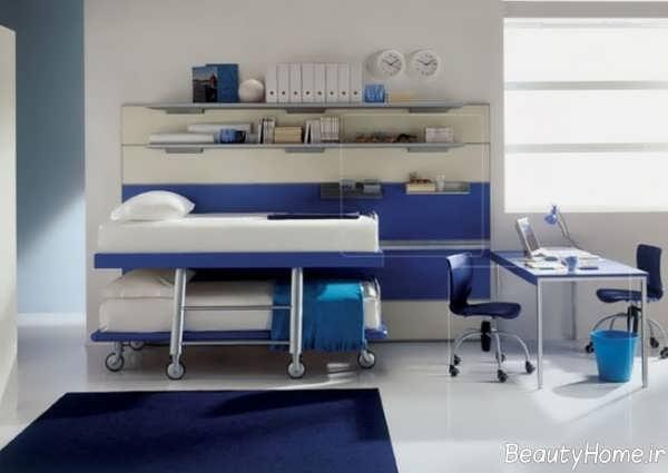 دکوراسیون آبی اتاق خواب پسرانه