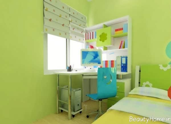 طراحی دکوراسیون سبز اتاق پسرانه