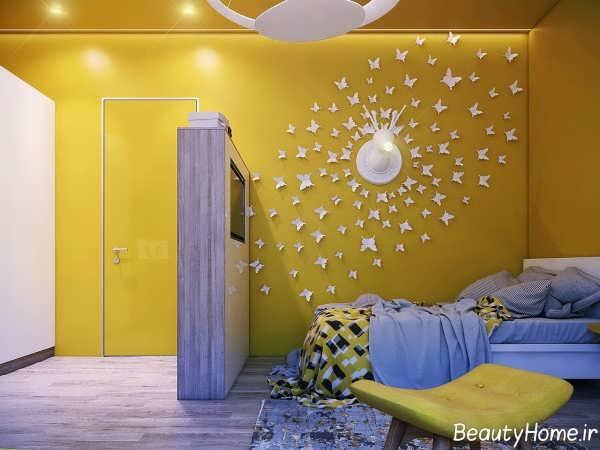 دکوراسیون زرد اتاق نوجوان