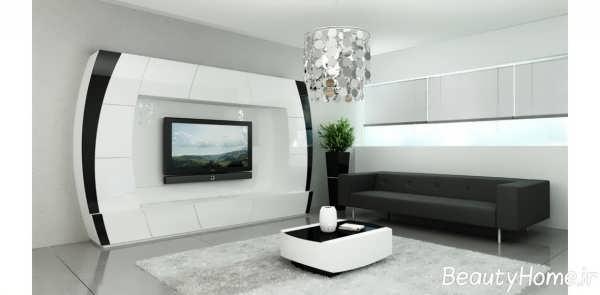 مدل ساده میز تلویزیون سفید