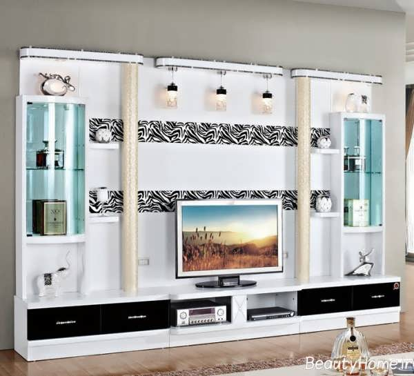 طراحی خاص میز تلویزیون سفید