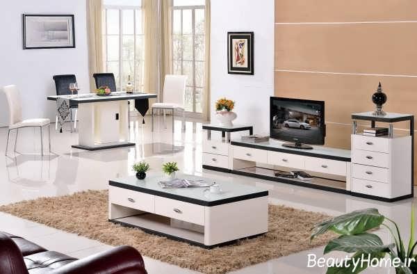 میز تلویزیون سفید کوچک