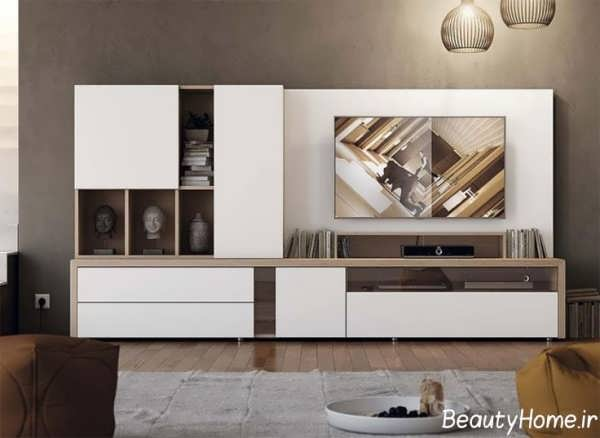 تصاویر شیک میز تلویزیون سفید
