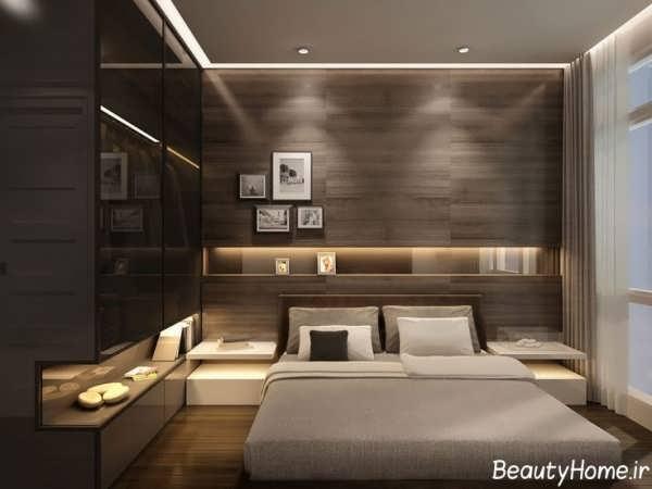 دکوراسیون اتاق خواب قهوه ای با نورپردازی ایده آل