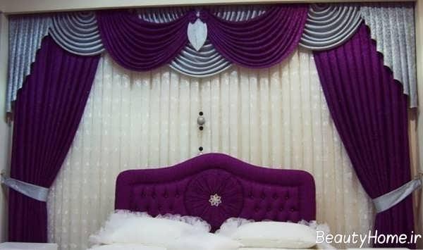 مدل پرده طوسی بنفش برای اتاق خواب
