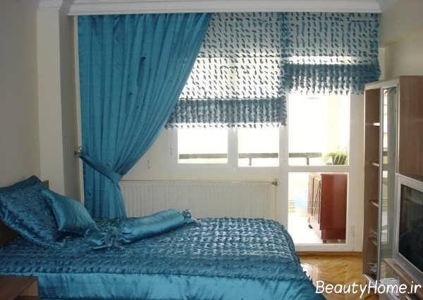 مدل پرده آبی برای اتاق خواب