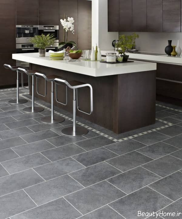 Kitchen Design Grey Floor: طرح سرامیک کف آشپزخانه جدید و بسیار شیک