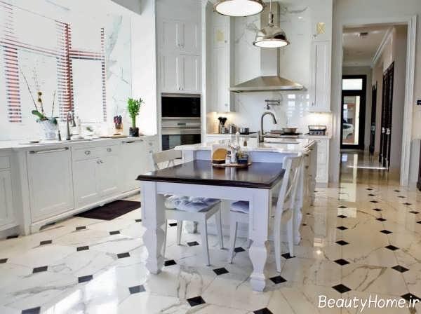 مدل سرامیک مشکی و سفید کف آشپزخانه