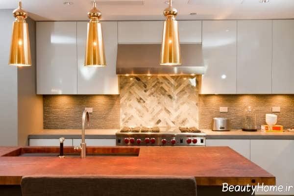 دکوراسیون آشپزخانه طلایی