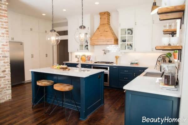 دکوراسیون آبی و مدرن آشپزخانه