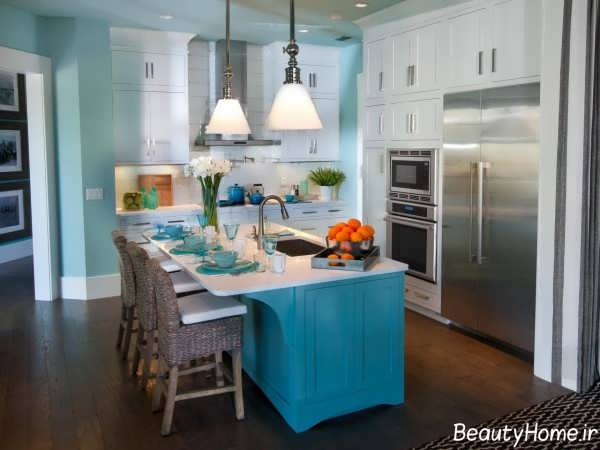 دکوراسیون آبی و خاکستری آشپزخانه