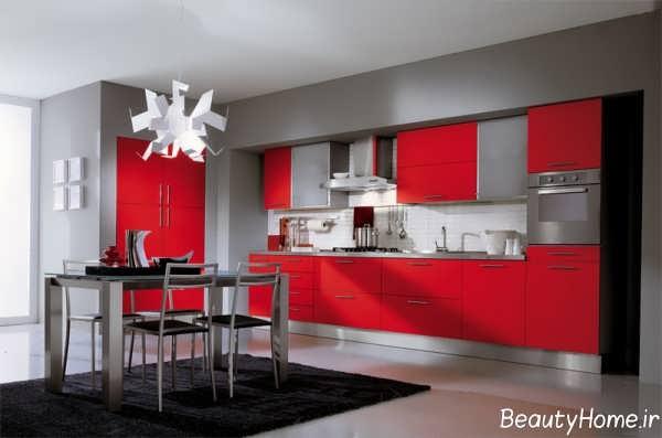 دکوراسیون قرمز و خاکستری آشپزخانه