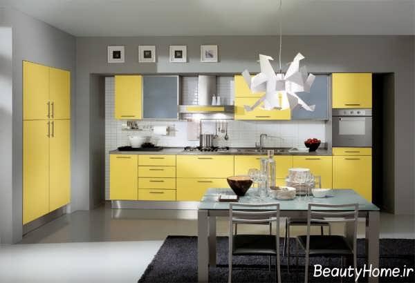 دکوراسیون زرد و خاکستری آشپزخانه
