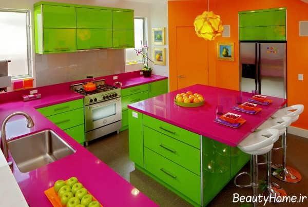 دکوراسیون رنگی شیک و مدرن آشپزخانه
