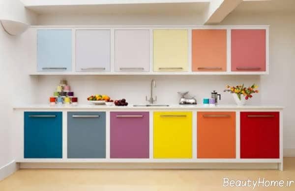دکوراسیون رنگی و شیک آشپزخانه