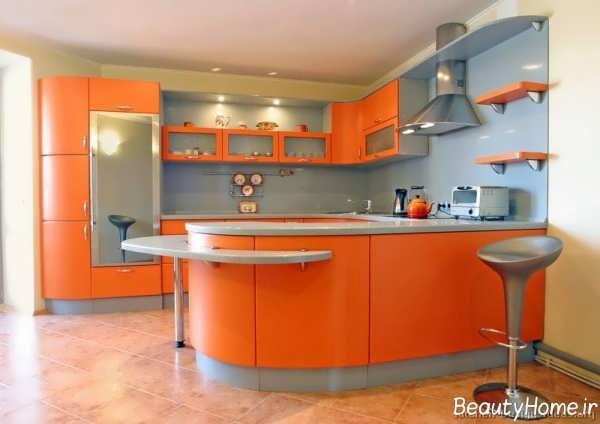دکوراسیون نارنجی آشپزخانه