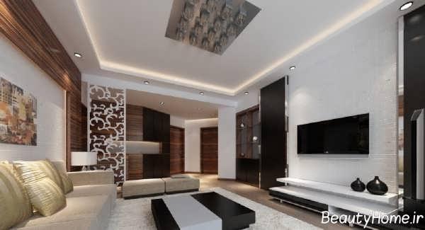 کاغذ دیواری ساده و شیک سالن پذیرایی