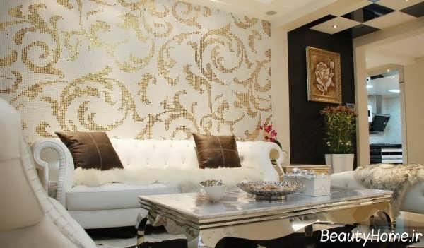 مدل کاغذ دیواری طلایی و طرح دار