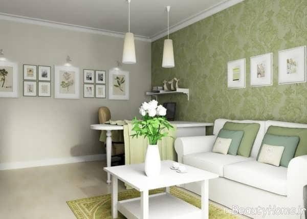 کاغذ دیواری سبز سالن پذیرایی