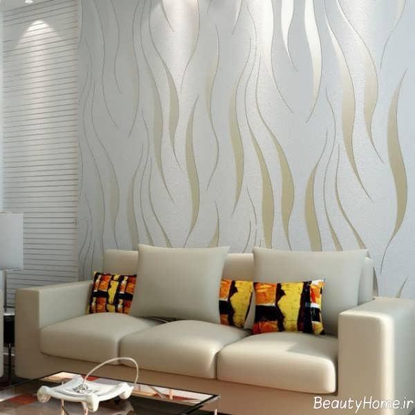 مدل کاغذ دیواری ساده و شیک سالن پذیرایی