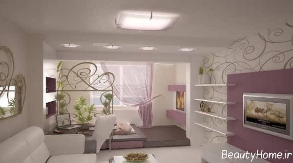 طراحی دکوراسیون سالن پذیرایی با کاغذ دیواری