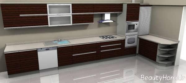 مدل کابینت سفید و قهوه ای ام دی اف