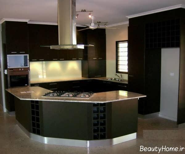دکوراسیون آشپزخانه مدرن با رنگ تیره