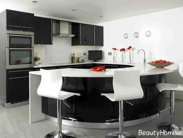 دکوراسیون آشپزخانه مدرن سفید و مشکی