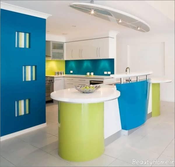 طراحی دکوراسیون آشپزخانه سبز و آبی