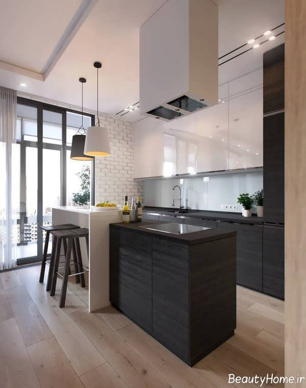 آشپزخانه مدرن آپارتمان یک خوابه