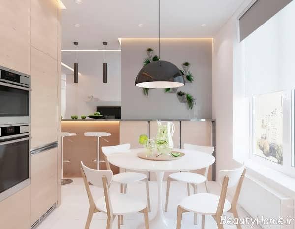 دکوراسیون آشپزخانه آپارتمان کوچک یک خوابه