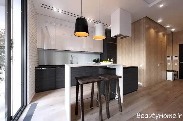 طرح های آشپزخانه شیک آپارتمان یک خوابه