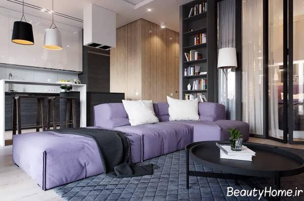 طراحی اتاق پذیرایی آپارتمان به روز یک خوابه