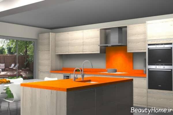 دکوراسیون آشپزخانه خاکستری و نارنجی