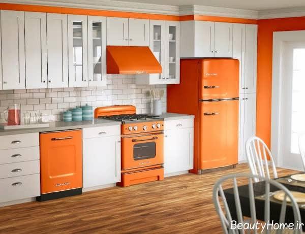 دکوراسیون سفید و نارنجی آشپزخانه