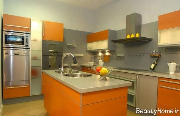طراحی داخلی آشپزخانه نارنجی